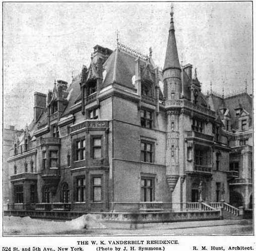 Alva Vanderbilt and Richard Morris Hunt's white limestone creation stood in stark contrast to the brownstone homes around it -- p...