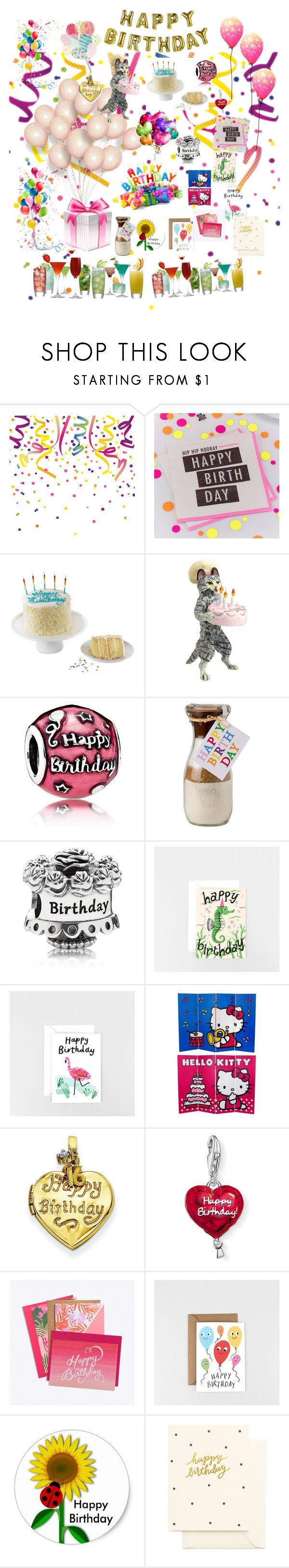 """""""It's my birthday today 🎂🍾🍷"""" by soniauk ❤ liked on Polyvore featuring Ginger Ray, We Take the Cake, Pandora, Talking Tables, Snowden Flood, Kevin Jewelers and Thomas Sabo"""