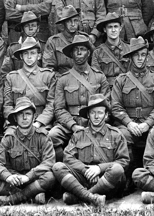 Australian soldiers in Gallipoli 1915. Sitting proudly in the middle is an Indigenous Australian.