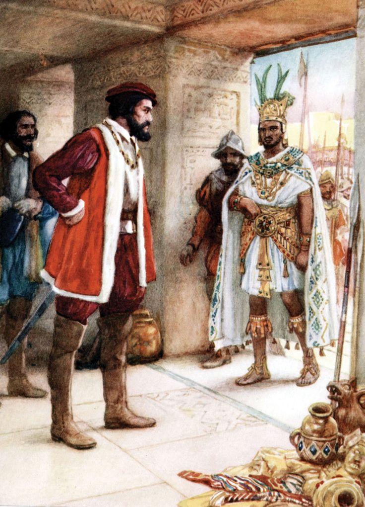 Hernan Cortes and Montezuma