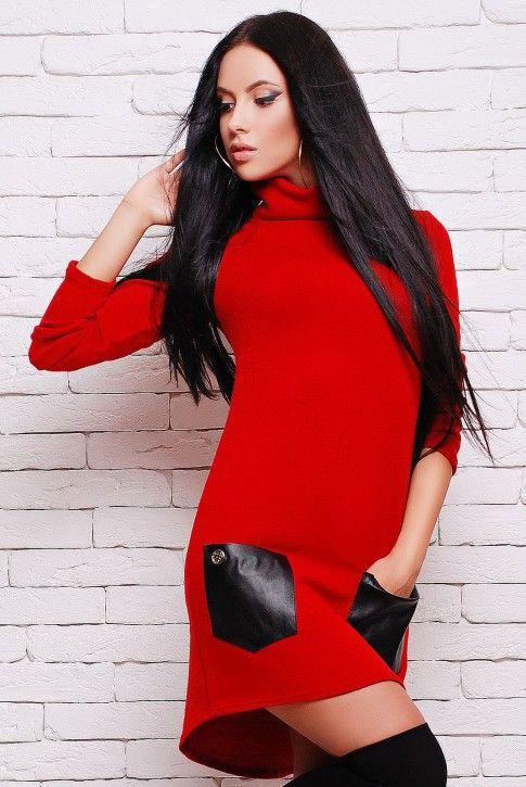 #Красное #платье из ангоры с карманами (PL-1280A)