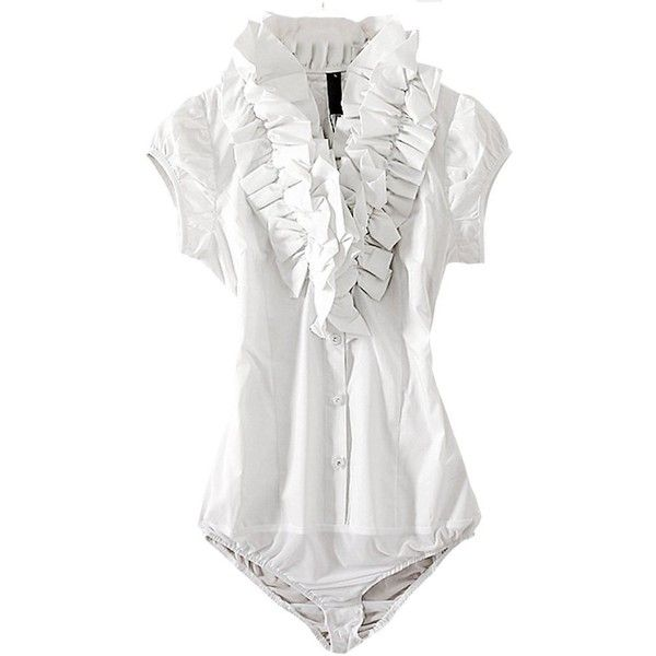 f5e2795e206276 Y&Z Women Lotus Ruffle Pleated Bodysuit Blouse Leotards YZ20 White... ($23)  ❤ liked on Polyvore featuring tops, blouses, flounce tops, whit…