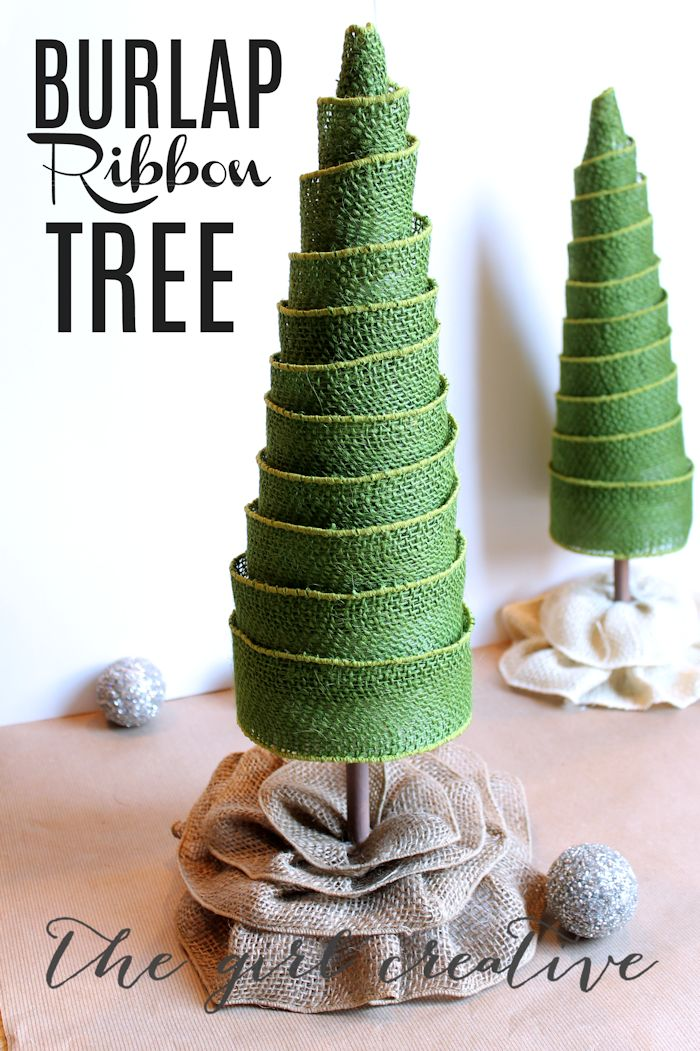 Burlap Ribbon Christmas Tree made from foam blocks, a poster board cone (DIY) and wired burlap ribbon.