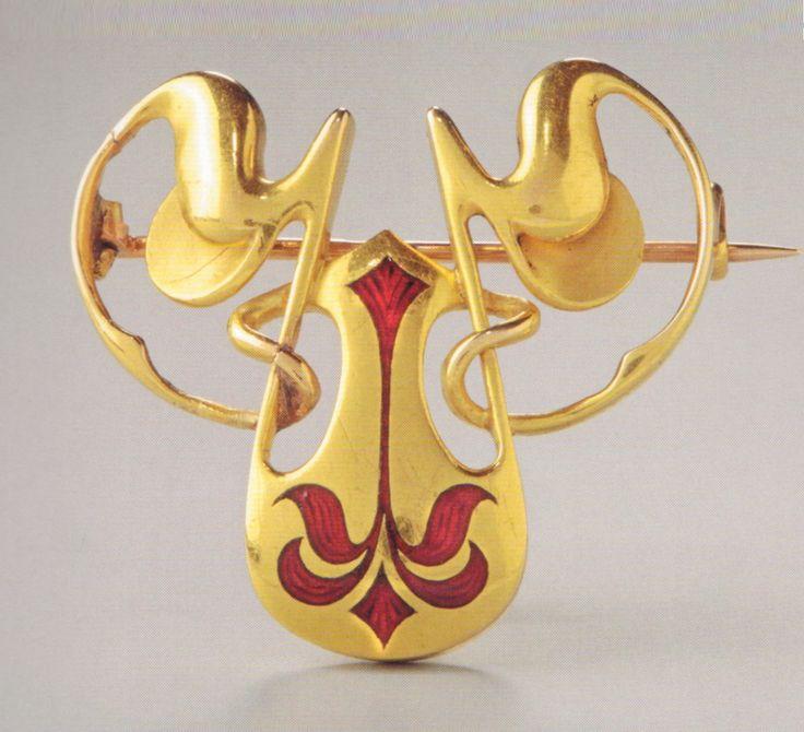 A Jugendstil / Art Nouveau gold and enamel brooch, designed by Hermann Robert…