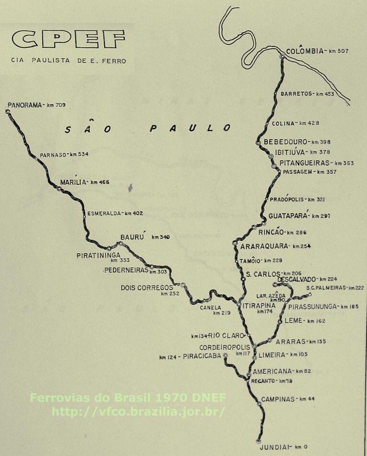 Mapa da Companhia Paulista de Estradas de Ferro em 1970