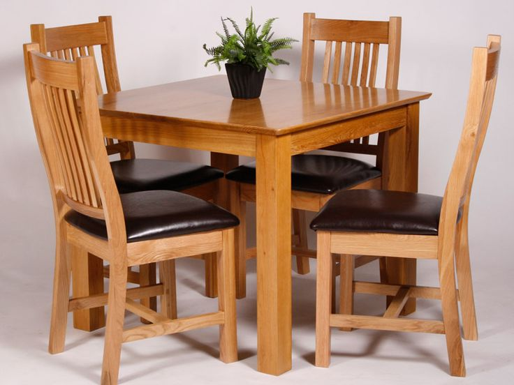 Utah oak dining set with fixed top table and balmoral
