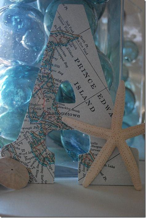 Maritime map letters: Beach Crafts, Beach Ideas, Beach House, Map Letters, Diy Crafts, Craft Ideas, Beachy Ideas