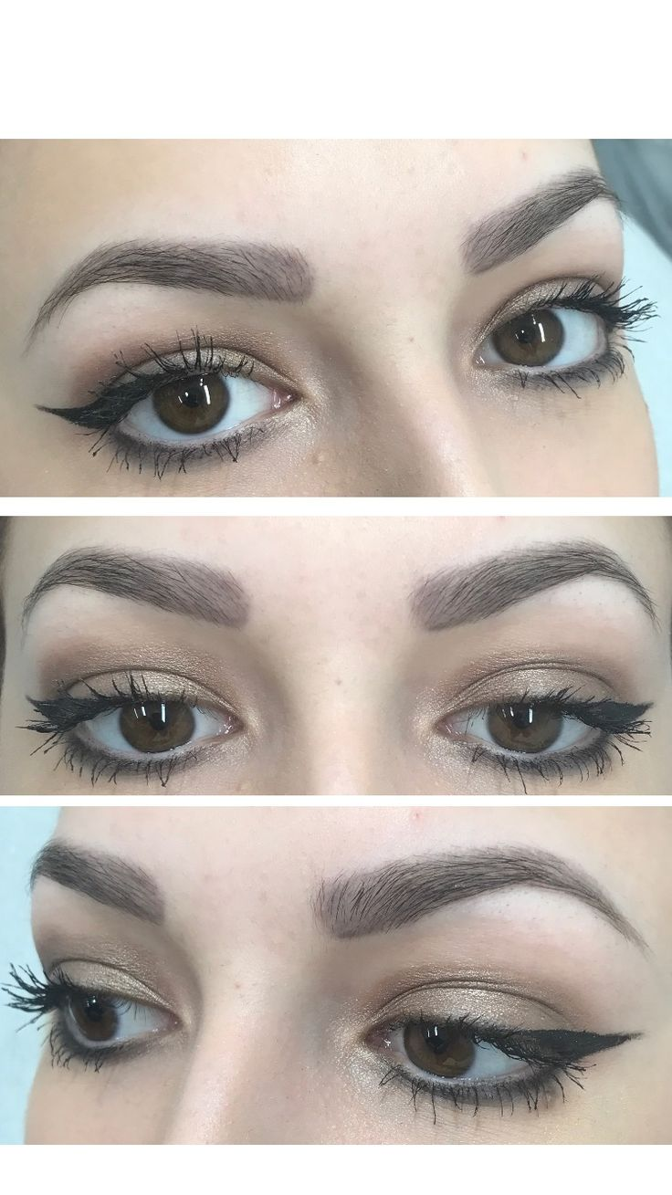 Healed powder brow effect permanent makeup eyebrows