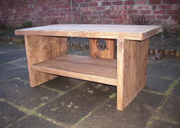 Rustic plank sleeper Plasma LCD TV stand unit entertainment centre table