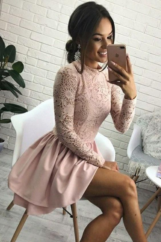 A-Line Jewel Long Sleeves Short Pink Homecoming Dress with Lace Bodice M4187