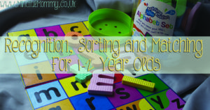 Table-time for 1-2 year olds. Sorting, matching and recognition activities with colour, letters, and shapes.