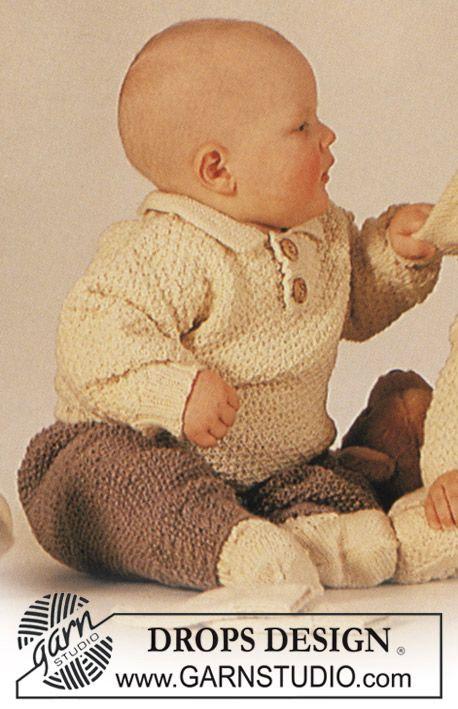 DROPS trui, broek en slofjes in gerstekorrel in Karisma. Gratis patronen van DROPS Design.