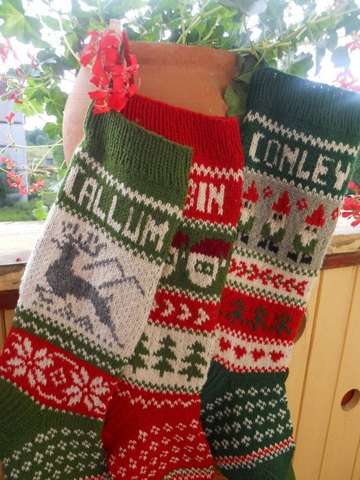 For 2014: Hand knit Christmas Stocking with Deer, Santa or Gnomes Personalized Christmas decoration Christmas gift - Will ship in 2014!!