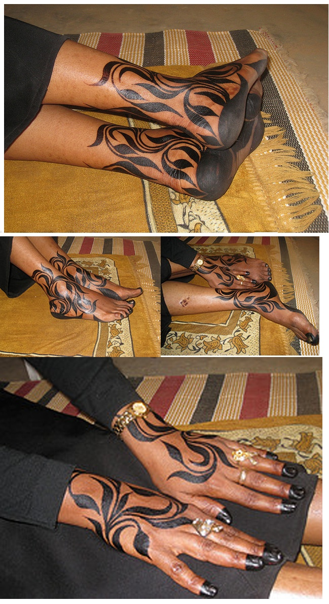"""Too bad it's PPD! """"Sudanese henna art""""  I think it would look lovely in red too"""