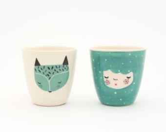 Conjunto de 2 taza de cerámica hecha a mano por MarinskiHeartmades