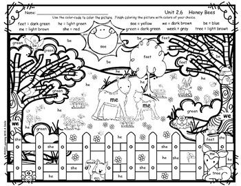"""Free download Color-By-Word Activity aligned with the Reading Street story """"Honey Bees"""", Unit 2, Week 6 following the color-code provided."""