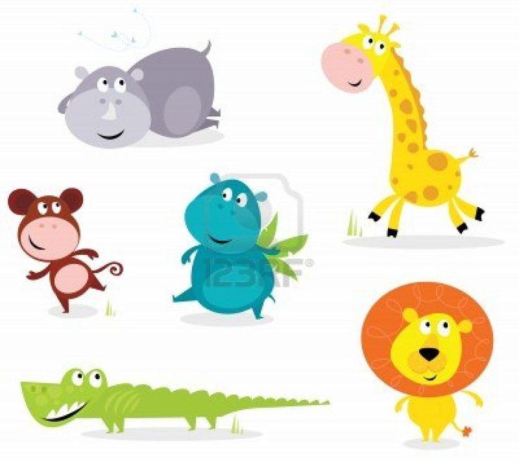 cartoon illustration of six cute safari animals - Giraffe, Hippopotamus, Rhinoceros, Crocodile, Lion and Monkey.