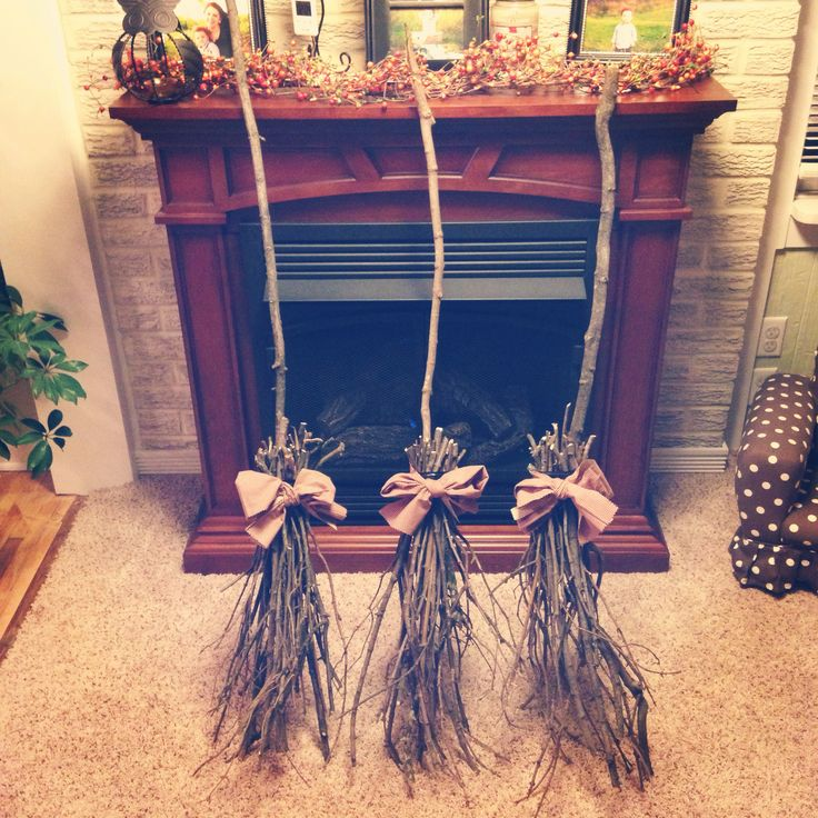 diy witches broom halloween decorations