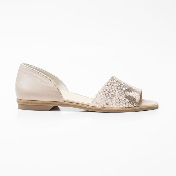 Sleek, simple flat sandal in taupe smooth leather with python embossed accent at the front. Rubber sole. *UK sizes. Made in Austria.