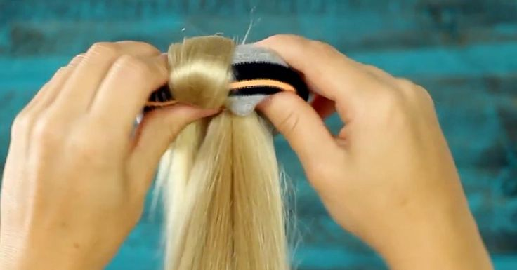 Easy Bun using a Sock to roll hair on