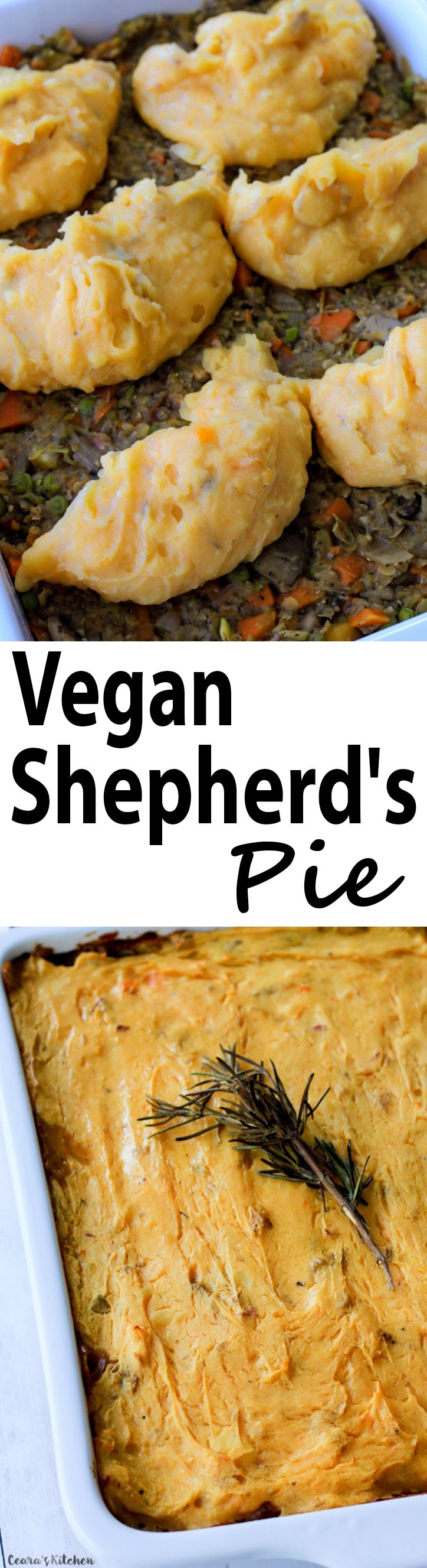 Vegan Shepherd's Pie! A hearty vegetable-lentil mixture, topped off with a thick layer of comforting mashed potatoes and baked until golden brown.