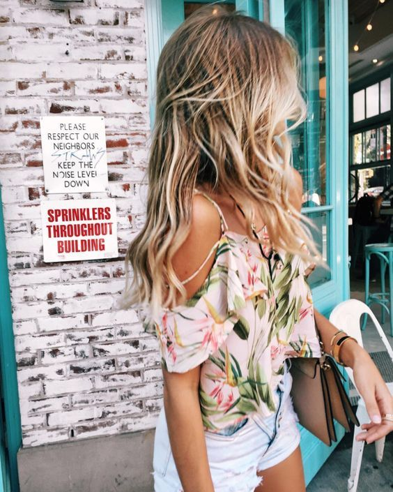 summer fashion | off the shoulders, tropical, pastel floral