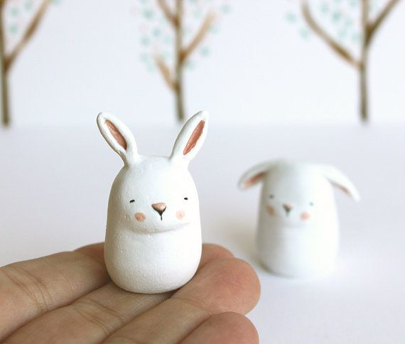 SUMMER SALE - Christmas in July - Animal totem - Chubby bunny - hand sculpted paper clay miniature