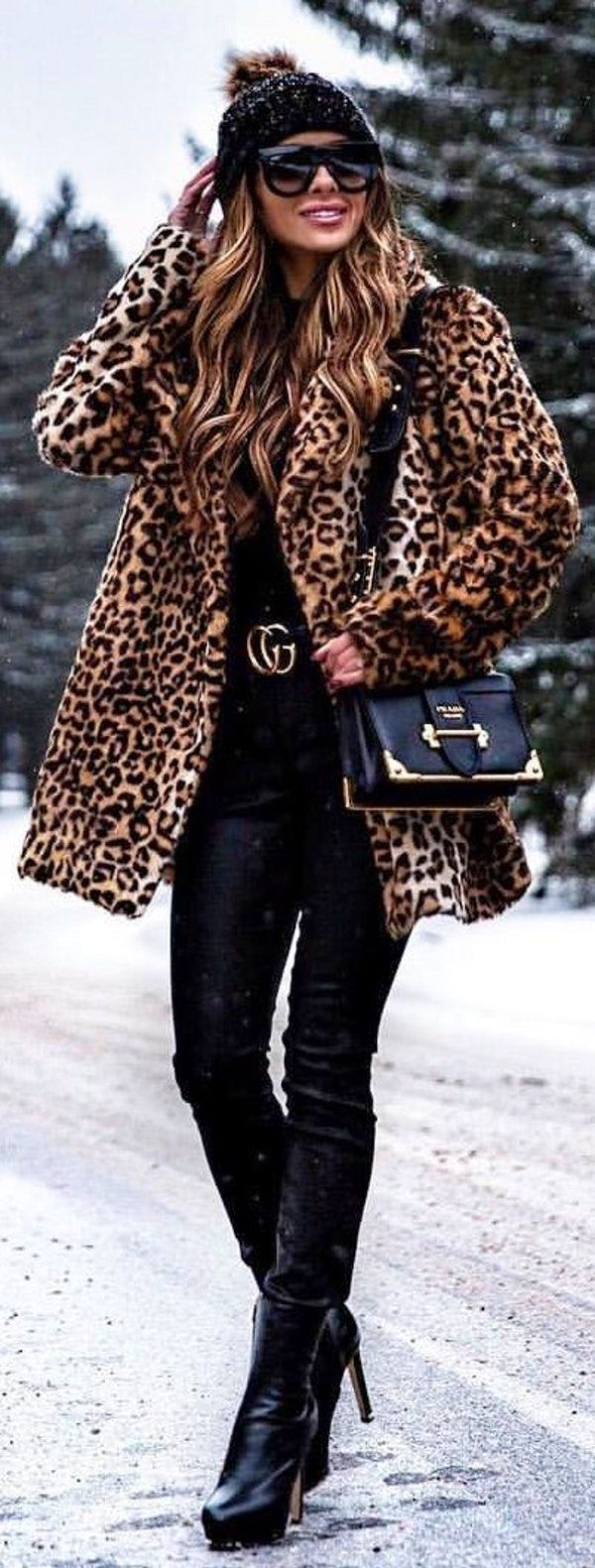 #winter #outfits black inner shirt with leopard print coat and black pants with black leather high heel boots outfit
