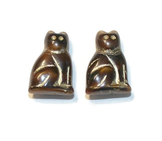 Czech Glass Beads 20mm Kitty Cat Pendants Brown by jodysbeads