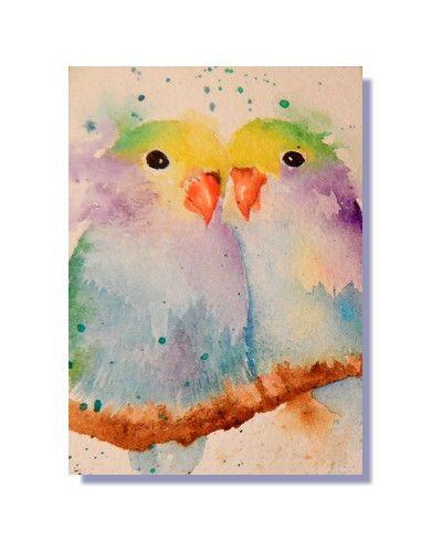 ORIGINAL ACEO Love Birds Lovebirds Parrots Watercolor Painting
