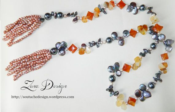 Luxury  Necklace of semiprecious stones pearls agate by ZenaDesign