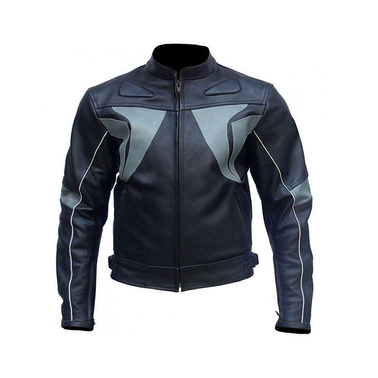 Black Gray Stripes Biker Leather Jacket