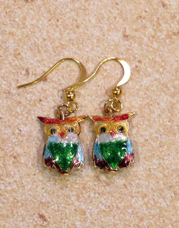 Colorful Cloisonné Owl Earrings on Etsy, $6.00