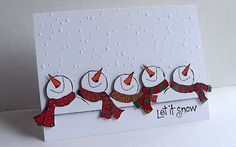 Sentiment is Penny Black, the snowmen are Stamps Happen(Festive Snowmen) and the embossing folder is CuttlebugRaindrops/Snowflakes (European exclusive).