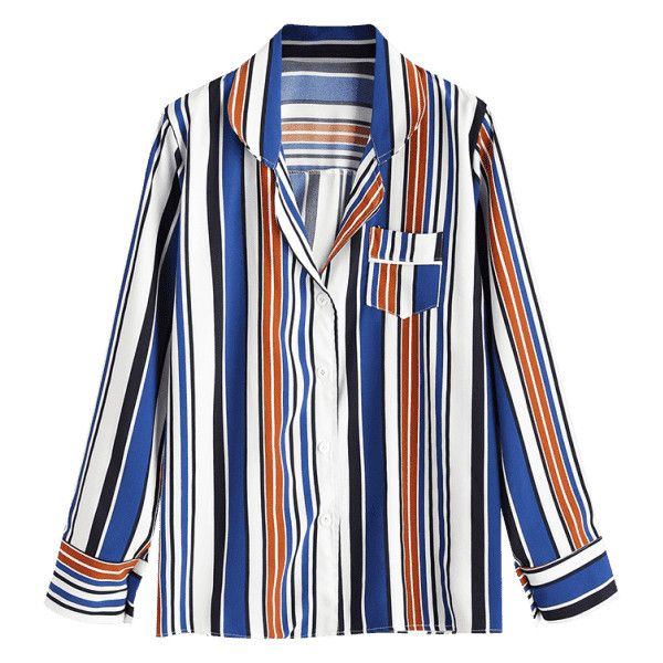 Button Up Contrast Striped Shirt ($30) ❤ liked on Polyvore featuring tops, blouses, striped button up shirt, white stripes shirt, button down blouse, striped blouse and button up shirts