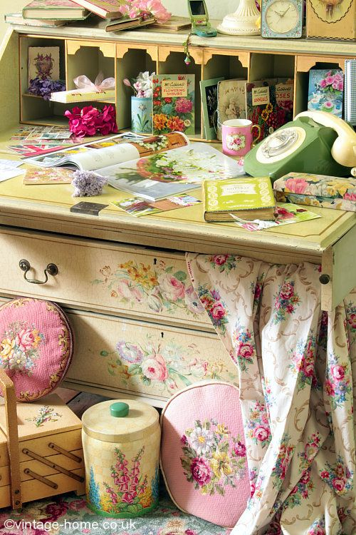 Vintage Home - Our Beautiful 1940s Hand Painted Bureau and Vintage Accessories: www.vintage-home.co.uk