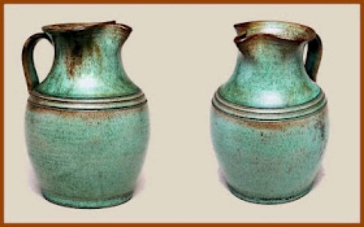 Green earthenware pitcher made by M. L. Owens, North Carolina