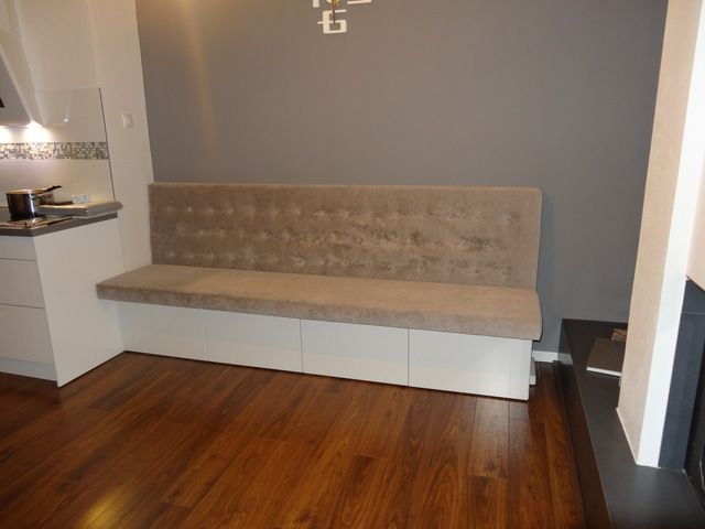 Dining Bench - IKEA Hackers: uses Besta TV Bench with kids mattress to create built in seating.