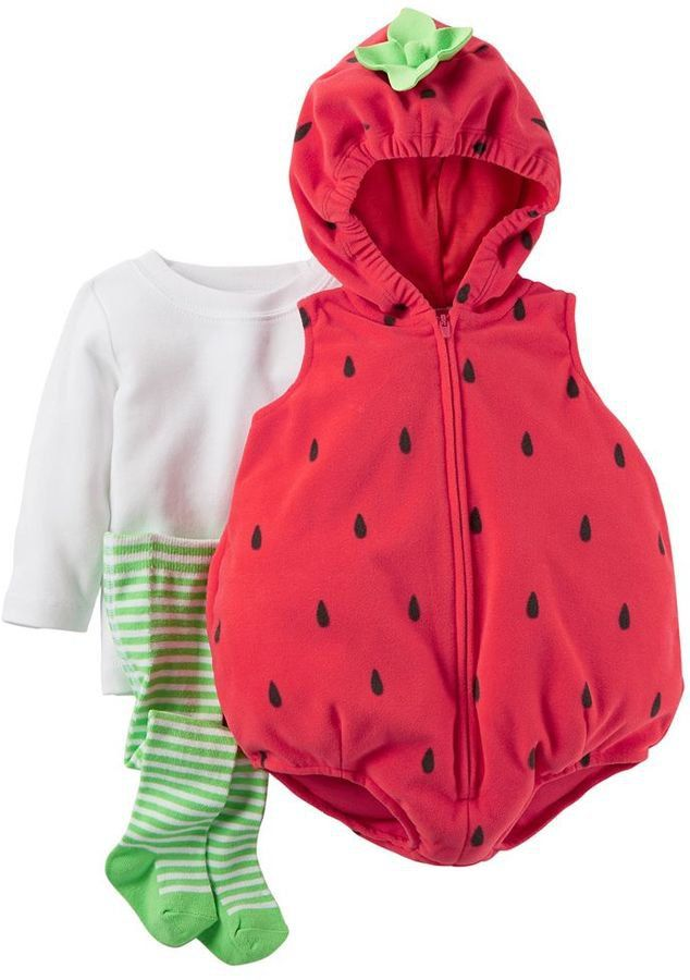 Pin for Later: 169 Warm Halloween Costume Ideas That Won't Leave Your Kids Freezing Strawberry Costume Carter's Baby 3-pc. Strawberry Costume ($28, originally $40)