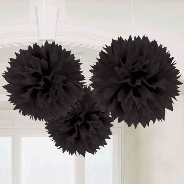 "Black Fluffy Decorations | 3pc, 16"""""