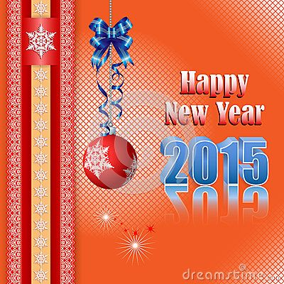Background with Happy New Year text and ornamental ball