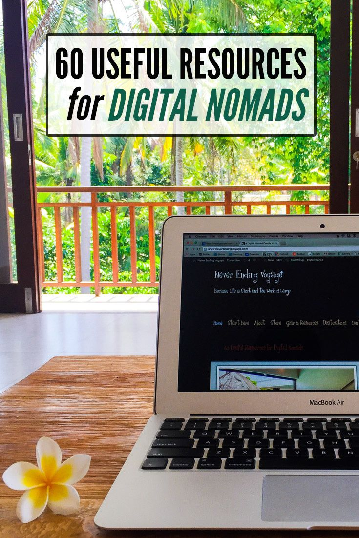 60 digital nomad resources that will help you work while travelling including gear, apps, software, websites and books.