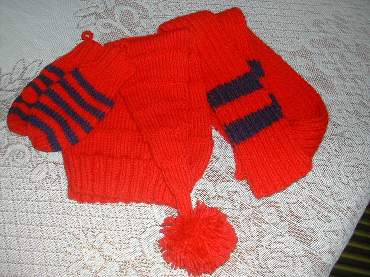 Knitted Hat Mitten and Scarf Set for a Toddler