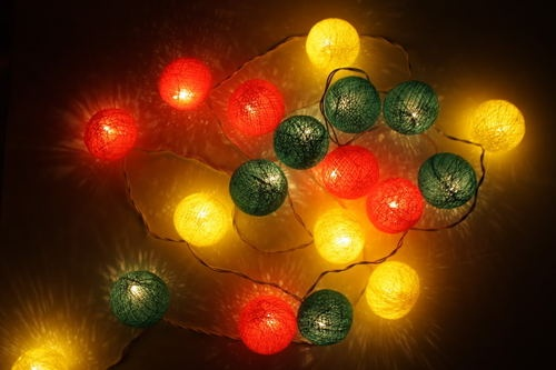Rasta cotton ball string patio party decoration lights