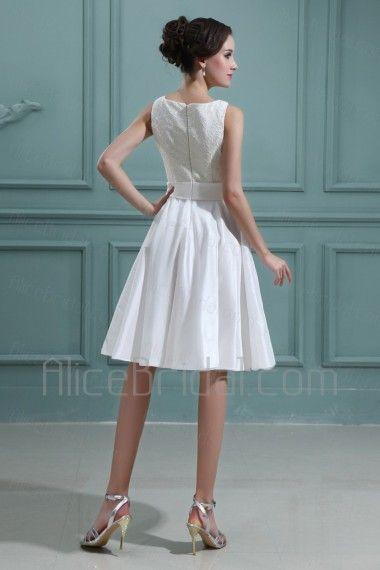 Taffeta Bateau Knee-Length A-line Wedding Dress with Embroidered - Alice Bridal