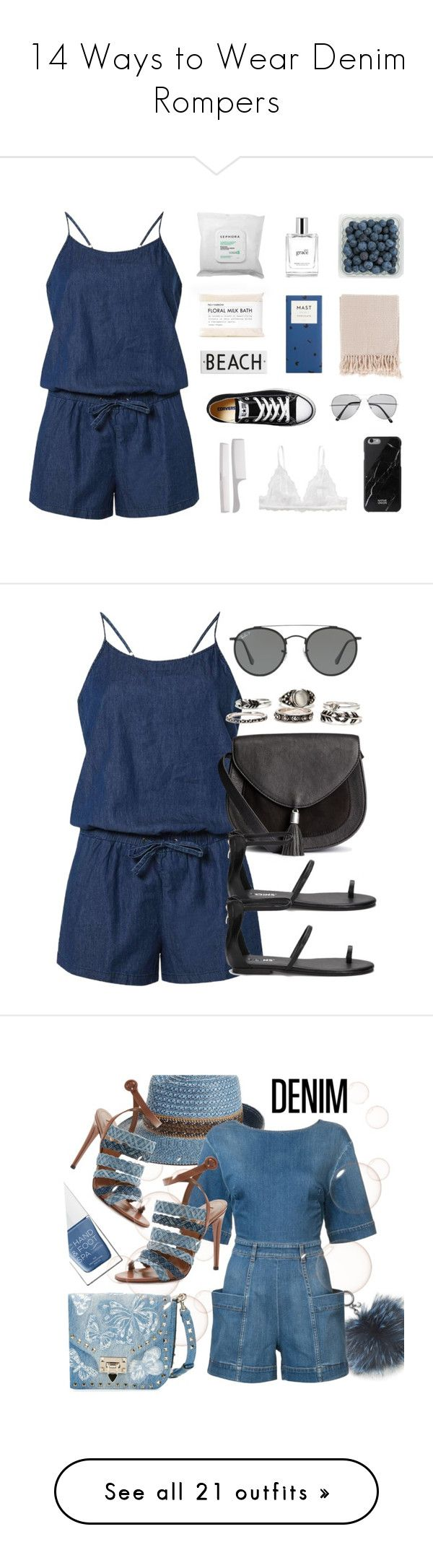 """14 Ways to Wear Denim Rompers"" by polyvore-editorial ❤ liked on Polyvore featuring denimrompers, waystowear, Dorothy Perkins, Sephora Collection, Monki, Converse, philosophy, Native Union, Surya and Pull&Bear"