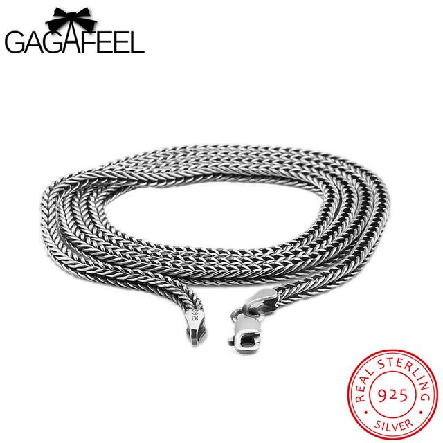 GAGAFEEL Sterling Silver Chain 925 Male Necklaces Man Trendy Punk Sport Style Chain Vintage  Handsome Birthday Party Gifts N13