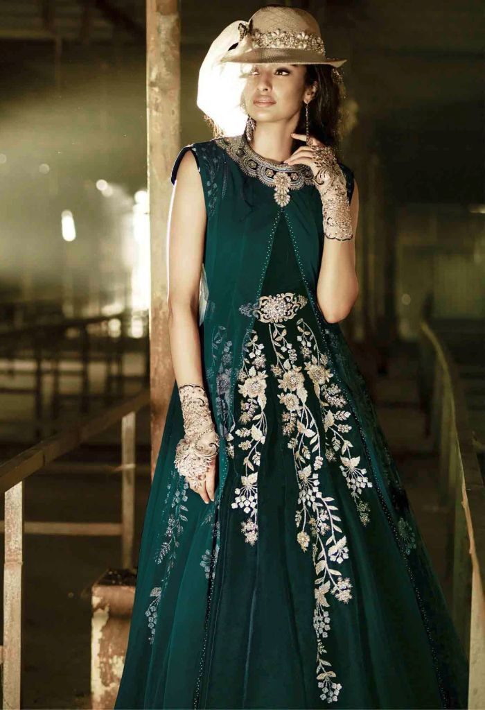 Green Velvet,Net Palazzo Salwar Kameez With Embroidery Work…