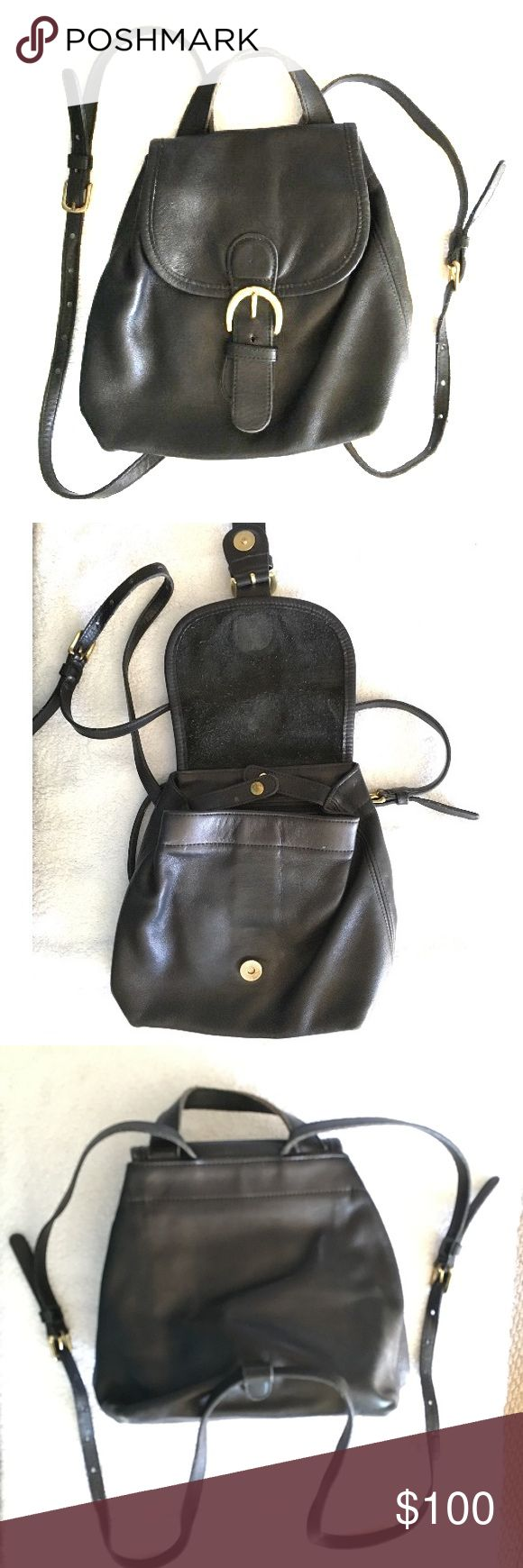 Coach Mini Black Leather Backpack Bag USA Adorable Vintage Coach Mini Black Leather Backpack! Made in USA!  Great gently used vintage condition. Leather is amazingly smooth and supple. Just a few faint scratches - not really noticeable. Coach Bags Backpacks