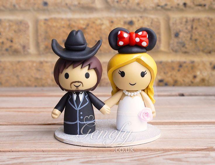 Groom with cowboy hat and Minnie Mouse bride wedding cake topper by GenefyPlayground  https://www.facebook.com/genefyplayground